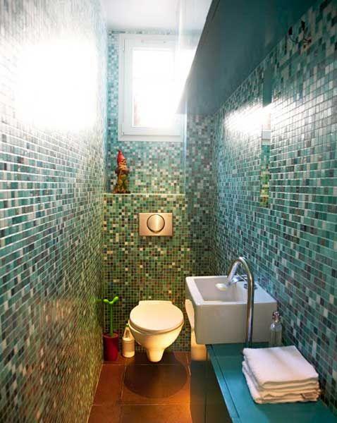 Glass Tile Mosaic Bathroom - wonderful for a small bathroom!