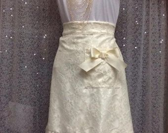 Cream lace apron, Bridal Shower Gift, New Home gift apron, Wedding Apron,  Wedding gift, Anniversary Gift for Parents, Gift for new Bride by blingscarves. Explore more products on http://blingscarves.etsy.com