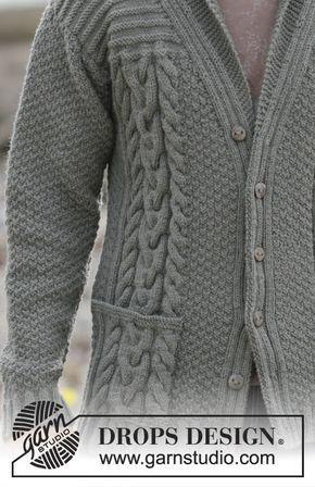 Casaco DROPS para homem, com tranças e gola xaile, em Lima. Do S ao XXXL. Modelo gratuito de DROPS Design.