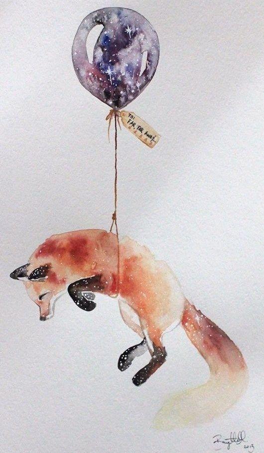 Акварельный эскиз лисы с воздушным шариком