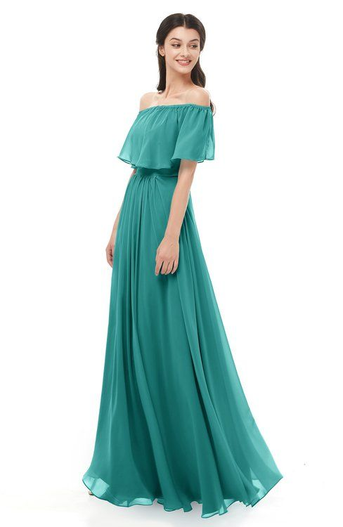 7e71b259c18 ColsBM Hana Emerald Green Bridesmaid Dresses Romantic Short Sleeve Floor  Length Pleated A-line Off