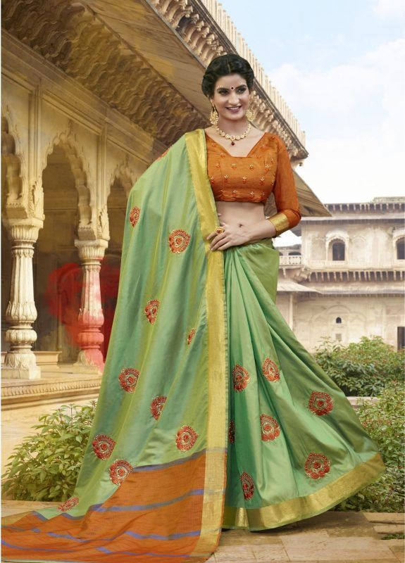 d01f11e6e7 REMARKABLE SATIN SILK SAREE IN LIGHT GREEN COLOR | Designer Sarees ...