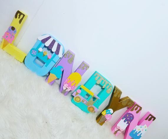 Ice Cream Theme Letters Dekorative Buchstaben Nursery Letters | Etsy   – Decorative letters