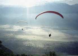 Paragliding near Barcellonette, France.