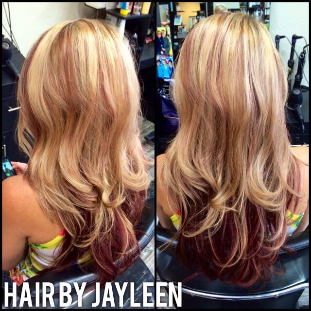 Blonde Mahogany Layers Fun Hair Red Highlights With