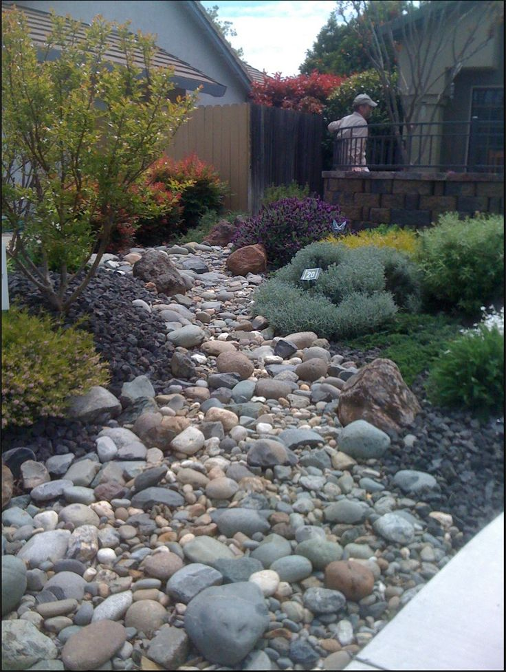 347 best dry creek bed images on pinterest dry creek for Landscape drainage