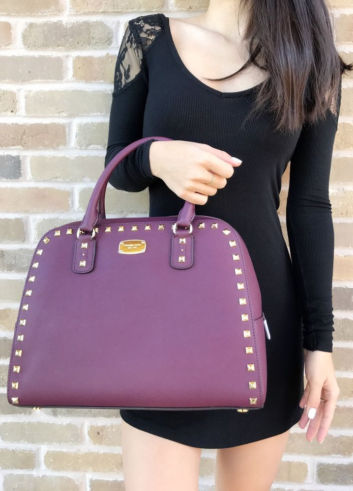 c5057b9f203c Michael Kors Sandrine Stud Leather Large Satchel Crossbody Handbag Plum  Purple #MichaelKors #Satchel