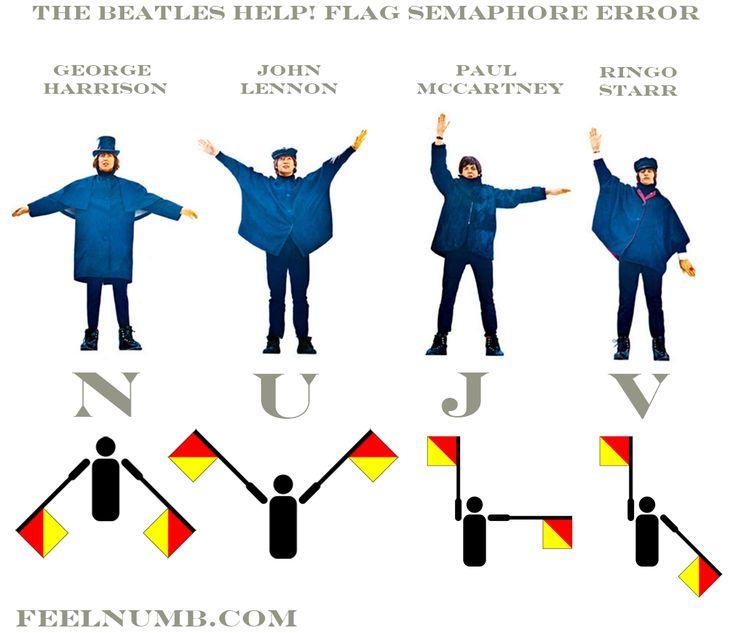 The Beatles Help! (NUJV!) Album Flag Semaphore Error | FeelNumb.com