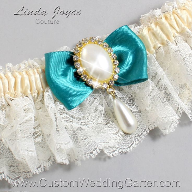 Ivory and Jade Green Wedding Garter Lace Bridal Garter 871 Ivory & 346 Jade Green Gold Prom Garter Plus Size Queen Size by CustomWeddingGarter on Etsy