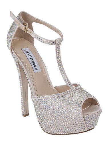 Rhinestone T-Strap Heels