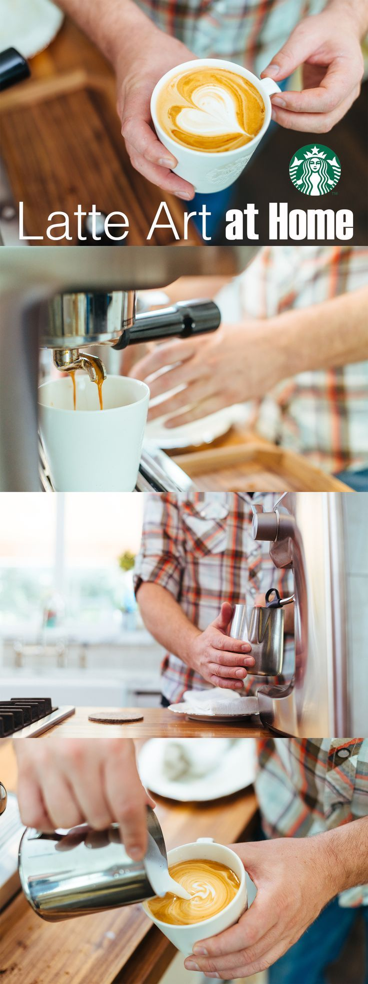 Learn how to make latte art at home with our step-by-step video guide. Here's what you'll need to get started: espresso maker with a steam wand, metal steaming pitcher with a pointed spout, wide and shallow coffee cup, milk and finely ground coffee, like Starbucks®️️ Espresso Roast.