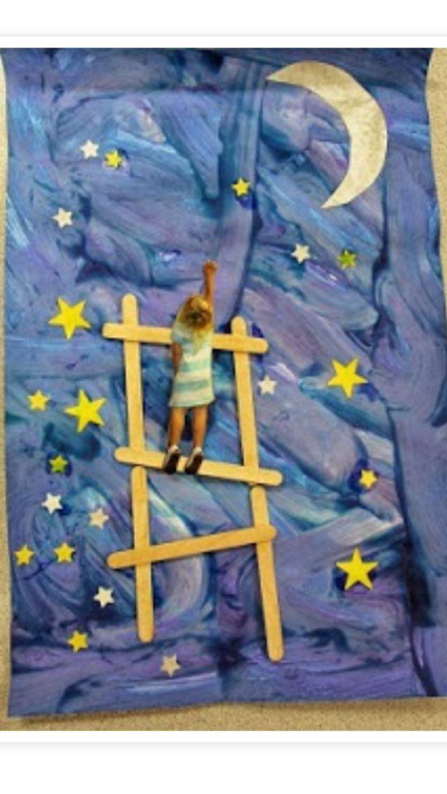 Ladder Moon Art Pinterest Ladder