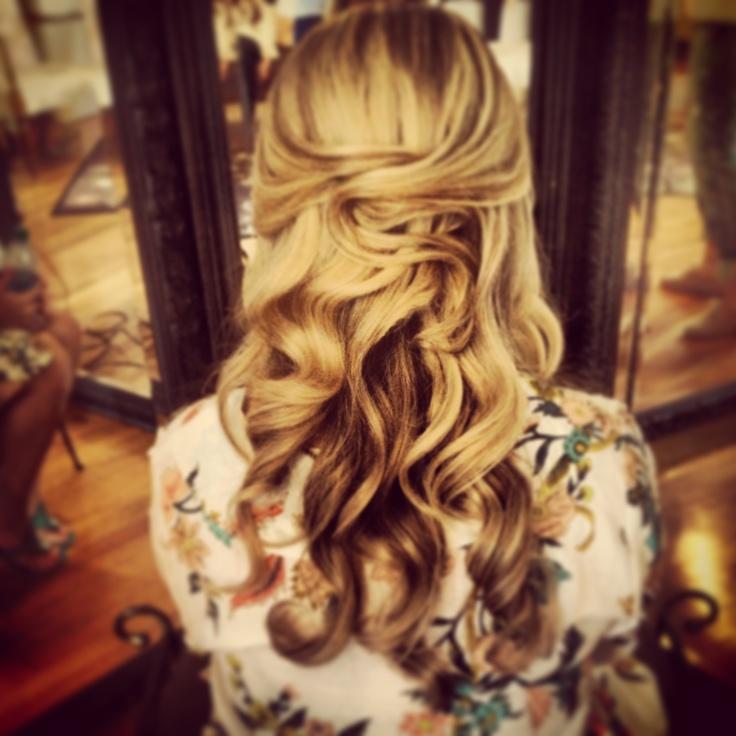 Vintage bridal hair, Bridal hairstyle, long and wavy wedding hair. Ash and co charleston sc