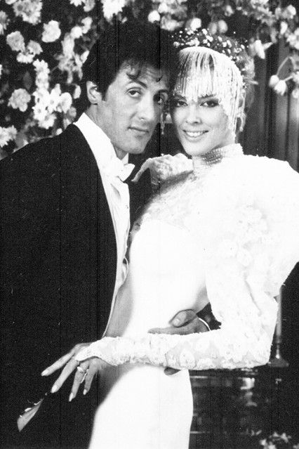 Brigitte Nielsen was the epitome of all-out Eighties glamour when she married Sylvester Stallone in December 1985 in a dress that she designed herself. This was a second marriage for both Stallone and Nielsen and it lasted two years before they were divorced.