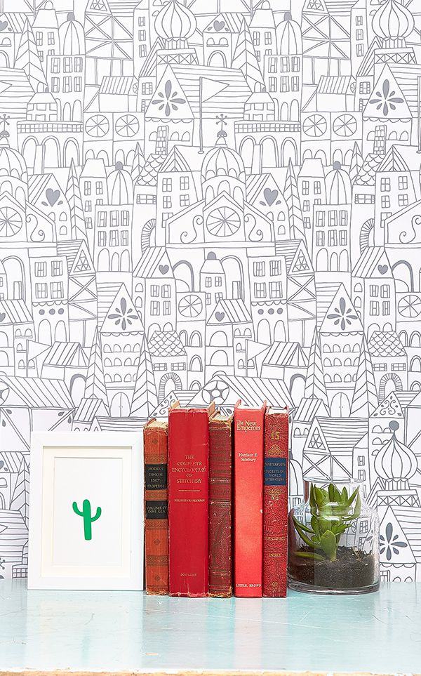 "NEW removable wallpaper by Lisa Congdon for Chasing Paper // ""Little Village"" print"