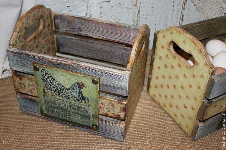 Купить Ящички деревенские - разноцветный, ящичек, ящик для овощей, ящик для хранения, ящик для кухни, курица