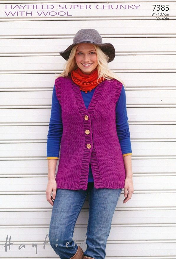 Womens Longer Length Waistcoat in Hayfield Super Chunky with Wool (7385) | New Products | Deramores