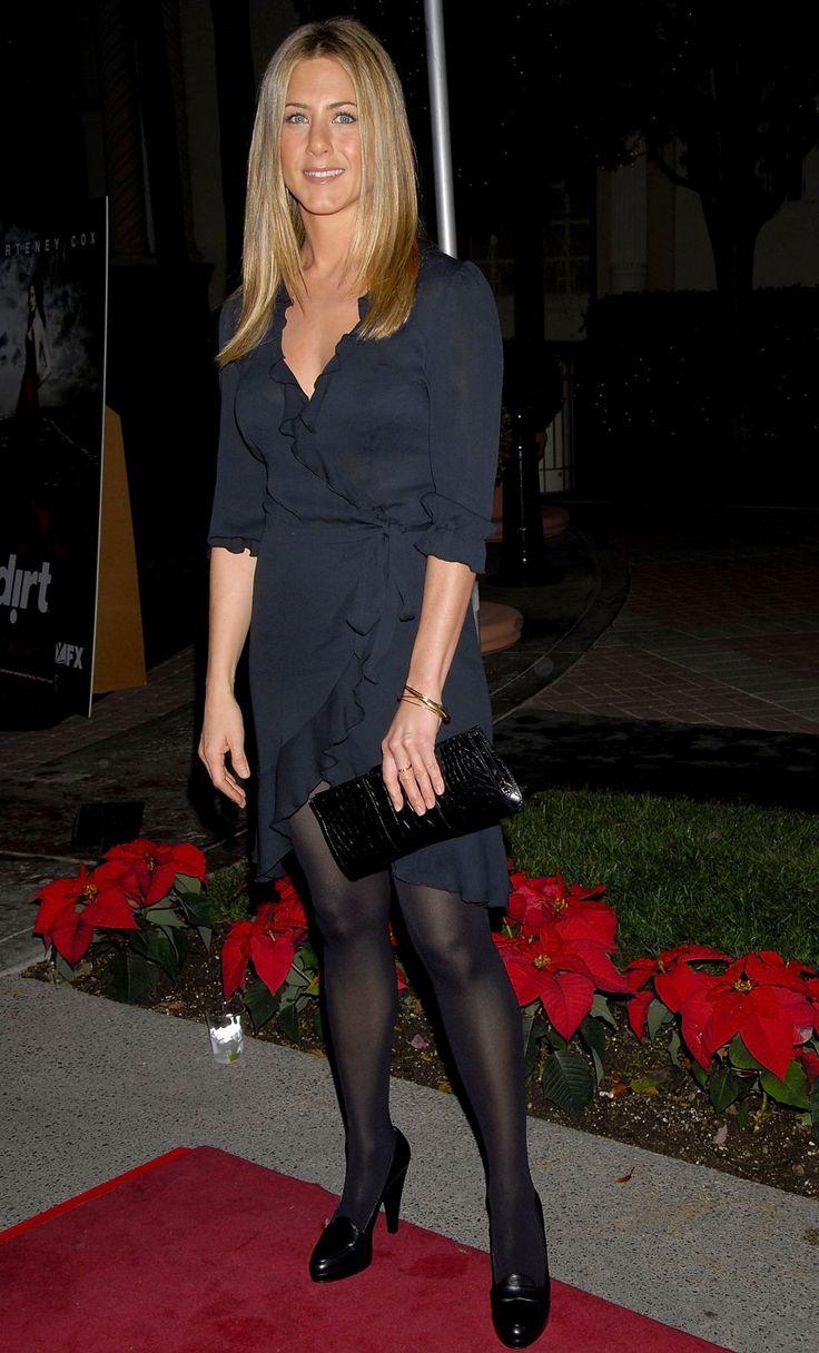 Jennifer Aniston in black hosiery. | Celeb In Hose ...