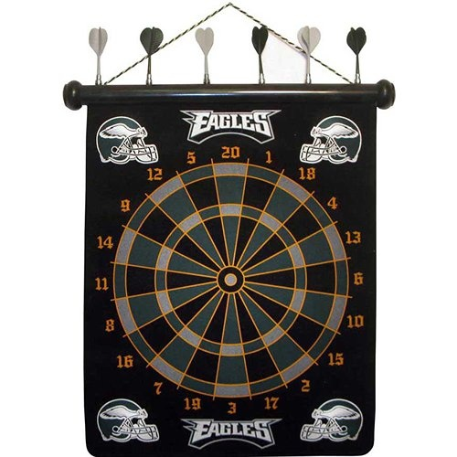 Philadelphia Eagles Magnetic Darts: These magnetic dart boards offer all the fun and playability of regular darts with none of the damage to the wall surrounding the dart board! The game includes a magnetic hanging gameboard and 6 magnetic darts (3 of each 2 colors).  $29.99  http://calendars.com/Philadelphia-Eagles/Philadelphia-Eagles-Magnetic-Darts/prod1289081/?categoryId=cat00504=cat00504#