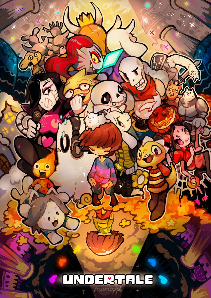 "momoppi: ""  I DREW ALL MY FAV UNDERTALE CHARACTERS IN ONE PIC!! I LOVE THIS GAME!!!!! """