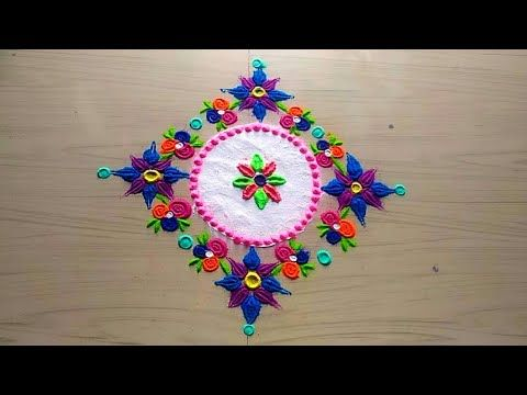 How to make easy and simple /unique Rangoli design - YouTube