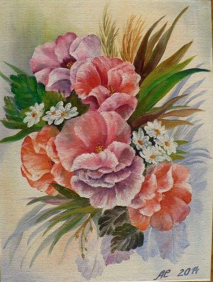 """Картина маслом """"Нежные цветы"""" - картина с цветами,картина маслом с цветами"""