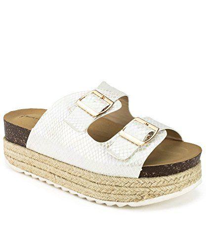 211e330eb01 RF ROOM OF FASHION Women s Open Toe Espadrille Lug Sole Summer Slip on Platform  Footbed Slides Sandals