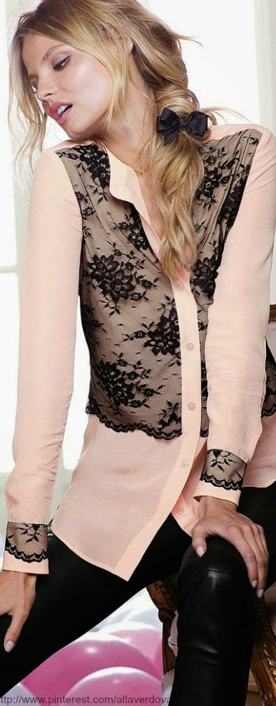 The Silk Shirt Classic details meet the luxury of silk in a chic  button-down for year-round style. Floral lace overlay at center front and  cuffs Dry clean ...