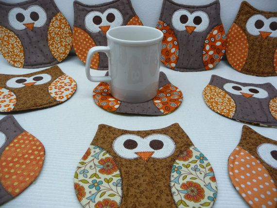 Owl Mug Rug - Owl Coasters These cute little owl mug rugs are both fun and functional! Theyll definitely add some cheer to your home or office, and are great gifts!  Please select from options to choose a body color for your mug rugs, and a color or holiday fabric for the wings. Size: 5.5 x 5.5  Custom orders welcome.  Handmade in my smoke free/pet free home.