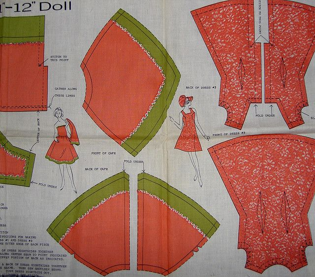 vintage fabric panel for sewing Barbie clothes by JapaneseSweetShop, via Flickr
