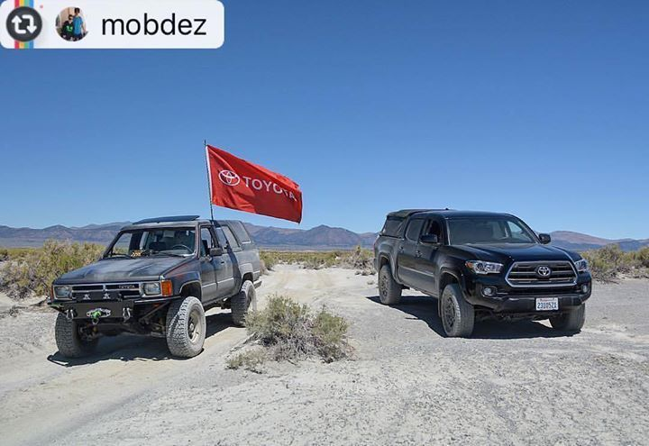 Flying the Toyota Flag #Reposting @mobdez -- old school vs new school . . . nice truck but no where near as badass as my og runner :) #toyota #4runner #tacoma #30yearsapart #yotanation #team4runner #monocounty #highsierra #california #gnarcissistic #us395 #mammothstories #offroad #yota #22re #easternsierra #tacotuesday #letsgoplaces #monolake http://ift.tt/2bjBjxe