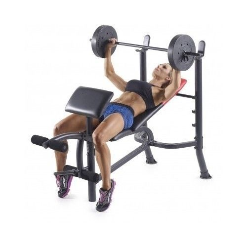 Adjustable-Weight-Bench-Set-Barbell-Workout-Flat-Ab-Utility-Training-Fitness-Gym