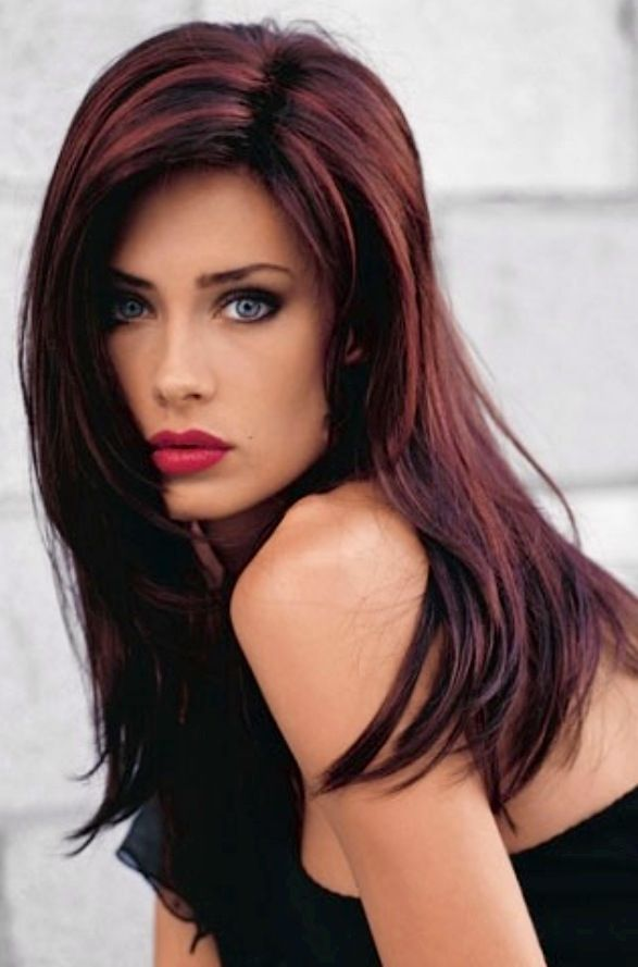 Dark hair with deep red highlights