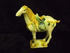 ANTIQUE CHINESE PORCELAIN TRI-COLOR DRIP GLAZE HORSE FIGURINE, NUMBERED, STAMPED