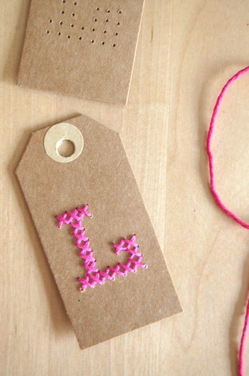 embroidered gift tag photo tutorial | follow and repin #diywithstyle