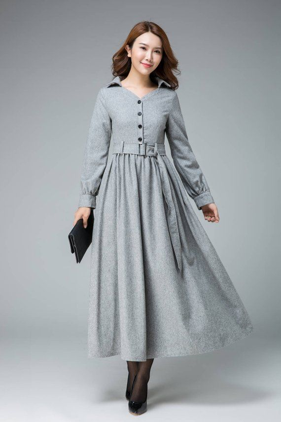 winter dress with snowflakes cozy ankle length dress Oversize grey dress Maxi dress oversize style warm dress comfortable