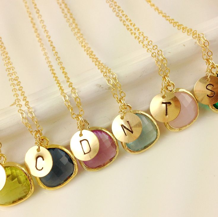 Set Of 6 Monogram Necklaces, Wedding, Bridesmaids Gift, Birthstone, Glass, Framed, Christmas Gift, Unique Bridesmaids Necklaces, Initial. $179.50, via Etsy.