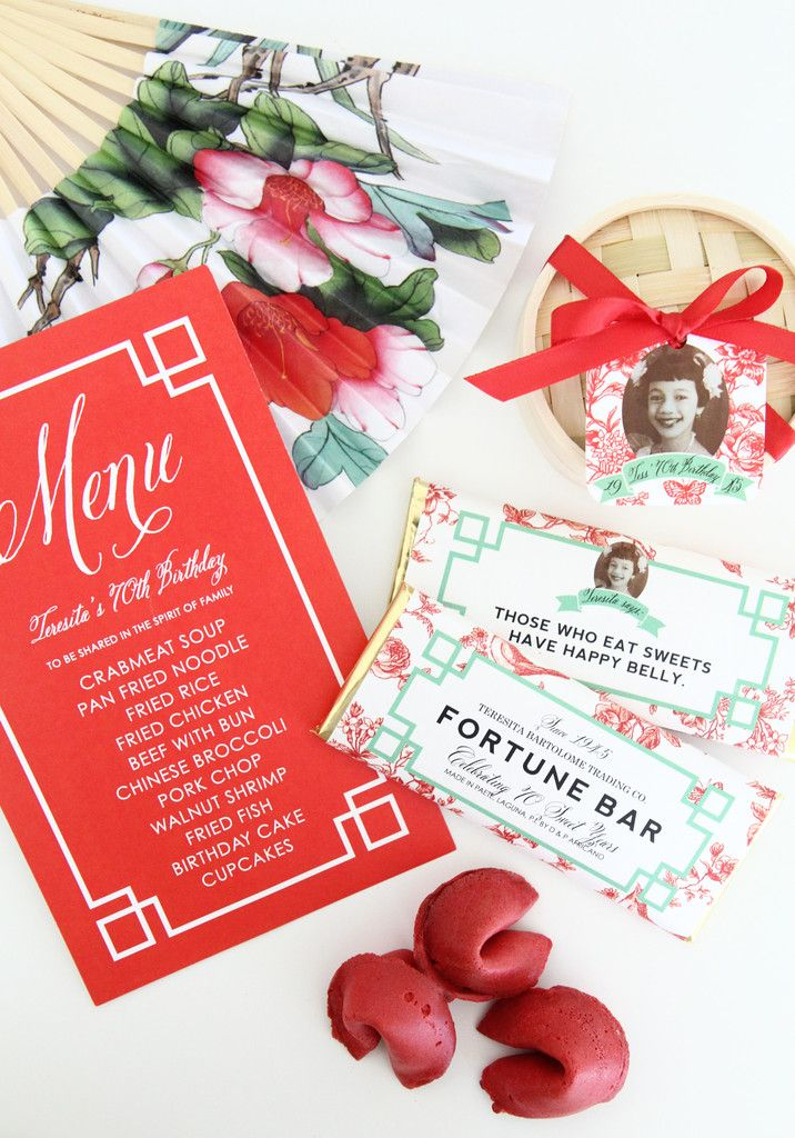 Chinoiserie Fortune Candy Bars for a 70th Birthday - Sweet Paper Shop Blog