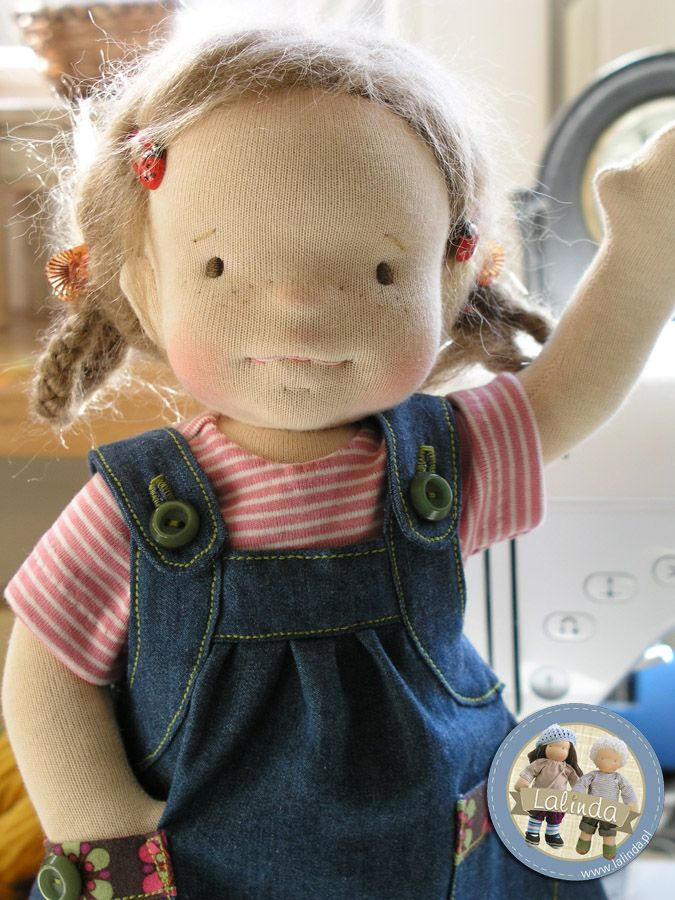 Picture only - idea for dolls clothes - denim pinafore - use old jeans
