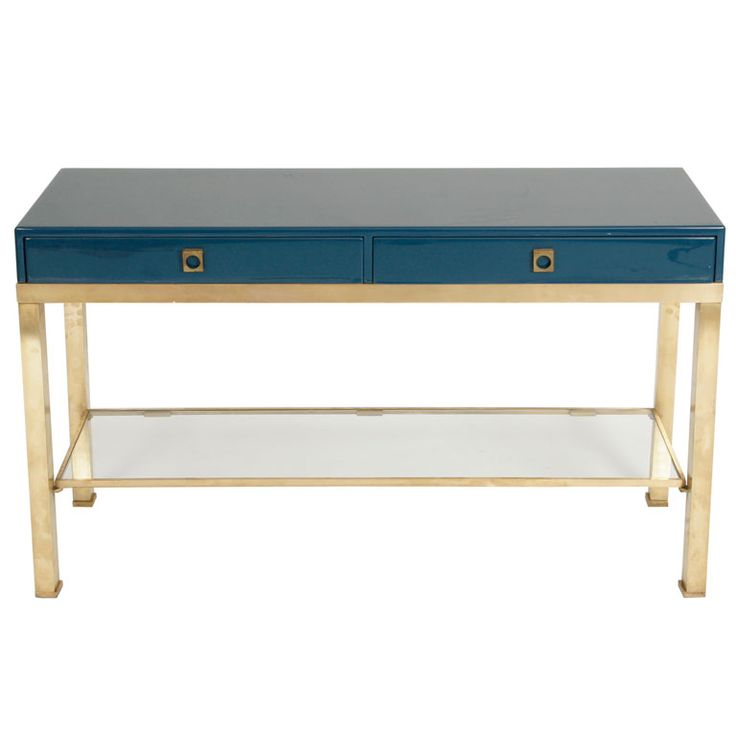 Gorgeous Royal Blue and Gold Console table - 1st Dibs