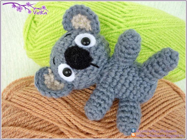 """Недавно связала вот такого малыша коалы. Вязала по английскому описанию из книги """"Tiny yarn animals"""". Получился немного не такой, как хотела..."""