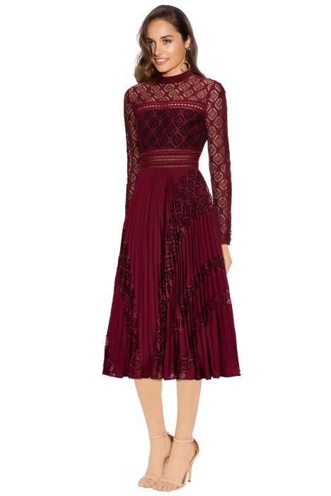 b6371c35b21 Self Portrait - Symm Midi Dress - Burgundy - Side