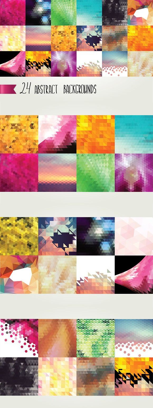 24 Abstract backgrounds. Patterns. $8.00