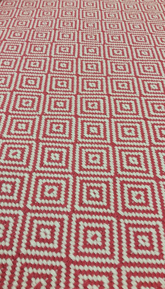 Diamond Flatweave Rouge Stair Runner by Hartley and Tissier