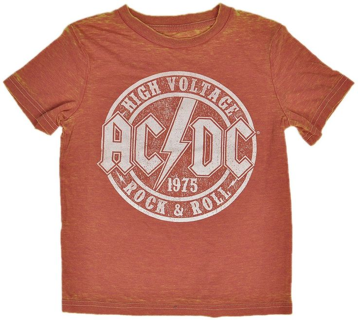 AC/DC Toddlers Kids T-Shirt Orange Burnout Classic Rock Logo Print