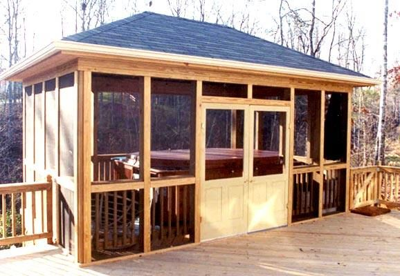 Screened in hot tub room idea a custom designed for Detached screened porch plans
