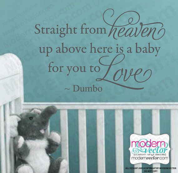 Disney Dumbo Quote Vinyl Wall Decal Nursery HEAVEN by ModernVector