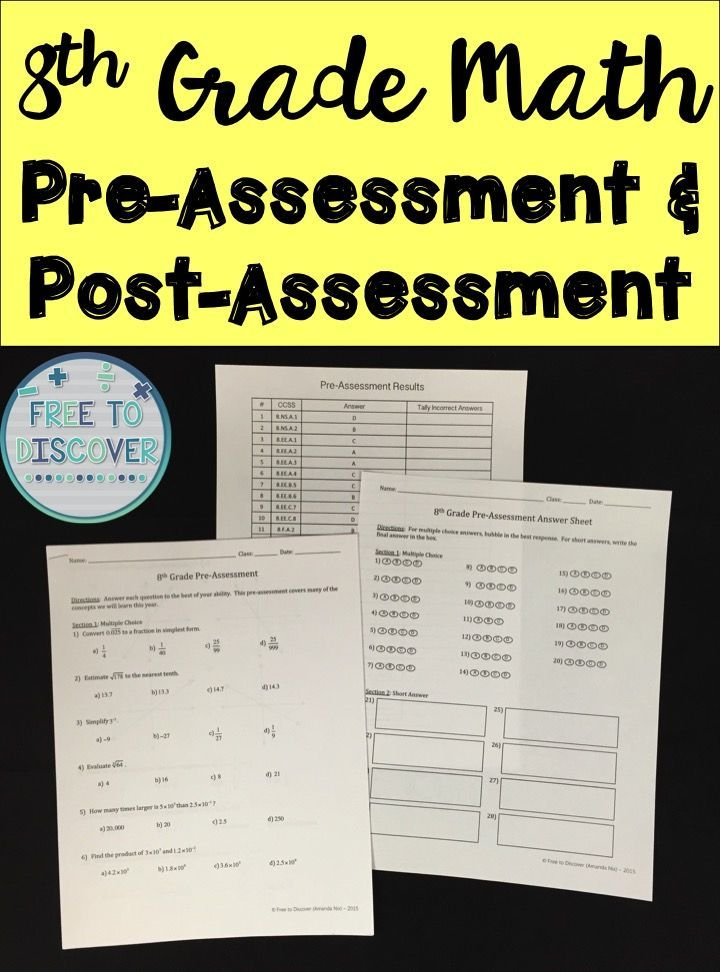 Two assessments are included in this product. The pre-assessment contains 20 multiple choice and 8 short answer questions. Each question correlates to an eighth grade math Common Core State Standard. The assessment is a great way to determine what prior knowledge students already have as they enter eighth grade. In order to collect appropriate data to use as evidence of growth, the post-assessment, given at the end of the year, is nearly identical to the pre-assessment. By Free to Discover.
