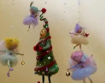 Naald vilten Kerst engelen, kerstboom, Waldorf geïnspireerd, Christmas Ornament, Home decor, Mobile, Art Doll, Handmade