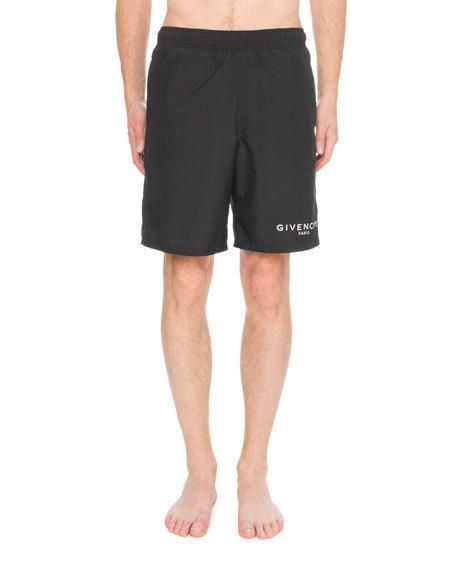 cde4b3c6dfcc Get free shipping on Givenchy Men's Logo Swim Trunks at Neiman Marcus. Shop  the latest luxury fashions from top designers.